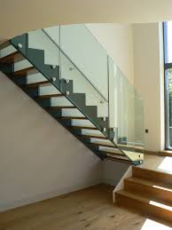 Banister Wall Architecture Great Wall Mount Glass Staircase Over White With