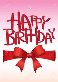 happy birthday ribbon happy birthday card with ribbon bow royalty free cliparts