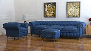 Seater Blue Wool Chesterfield Sofa UK Handmade Chesterfields - Chesterfield sofa uk