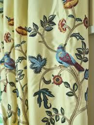 Faux Silk Embroidered Curtains 63 Inch 96 Inch Beige Blue Embroidered Bird Tree Grommet Faux
