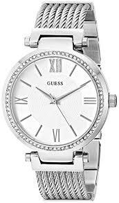 amazon com guess women u0027s u0638l1 sophisticated silver tone watch
