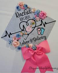 nursing graduation cap graduation cap topper labor delivery with flowers