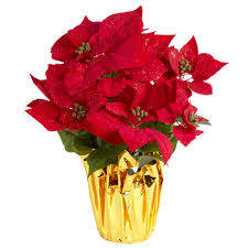 faux poinsettia plant with gold foil pot christmas tree shops