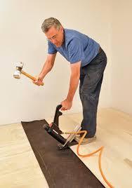 installing hardwood floor nailer stock photo image