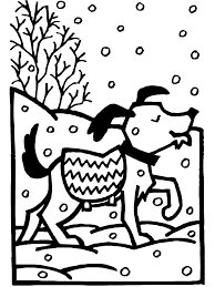 winter coloring page dog in snow primarygames play free