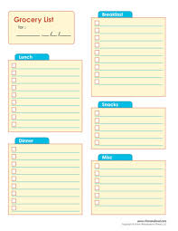 shopping list template free grocery shopping printable freesample