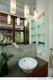 15 Bathroom Pendant Lighting Design - 15 bathroom spaces with glass shelving home design lover