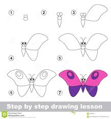 drawing tutorial how to draw a butterfly stock vector image