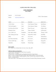 theatre resume beginners acting resume dj resume layout acting resume sle