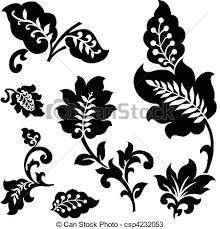 vector set of leaf ornaments vector set of flower vectors