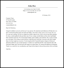 How To Write Nanny On A Resume Professional Nanny Cover Letter Sample U0026 Writing Guide