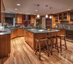 ebony stained red oak floors kitchen traditional with stainless