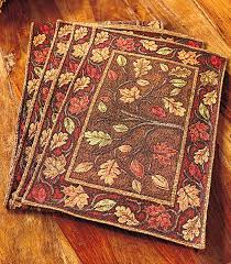 amazon com harvest leaves tapestry placemats set of 4 home