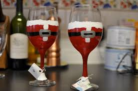 Wine Glass Decorating Ideas Popular Christmas Wine Glasses Santa Hand Painted Wine Glass Non