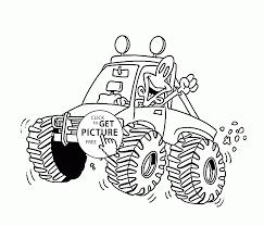 funny little monster truck coloring page for kids transportation