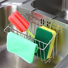 Amazoncom Sponge Holder Aiduy Sink Caddy Kitchen Brush Soap - Kitchen sink sponge holder