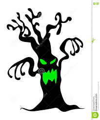 halloween creepy scary bare tree monster vector symbol icon design