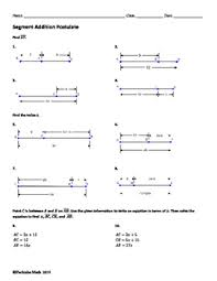Segment Addition Postulate Worksheet Segment Addition Postulate Geometry Worksheet Free Sample By