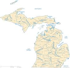 map of michigan lakes map of michigan lakes streams and rivers