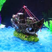 Aquarium For Home Decoration New Fish Tank Decoration Cave Decor Sailing Boat Shipwreck