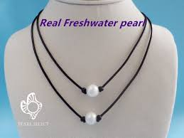 leather necklace with pearl images Freshwater pearl leather necklace pearl select jpeg