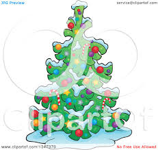 clipart of a cartoon christmas tree in the snow royalty free