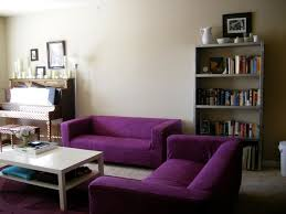 Purple Bookcase Decoration Awesome Purple Velvet Sofa And White Wooden Multiple