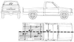 Ford Ranger Bed Dimensions 1990 Chevrolet S 10 Short Bed Pickup Truck Blueprints Free Outlines