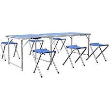6 ft portable folding table homfa 6ft cing table portable folding table with 6 chairs height