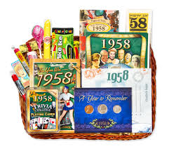 60th anniversary gifts anniversary or birthday gift basket for 1958