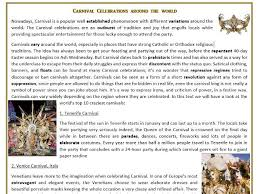 carnival celebrations around the world reading comprehension