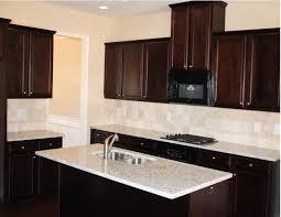 dark shabby white tile backsplash dark kitchen cabinets granite