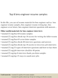 Building Engineer Resume Top8bmsengineerresumesamples 150512071642 Lva1 App6891 Thumbnail 4 Jpg Cb U003d1431415049
