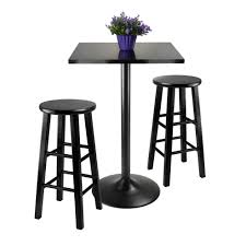 high table with stools amazon com winsome obsidian 3 piece pub table set table chair sets