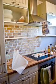faux brick kitchen backsplash kitchen simple way to spruce up your faux brick backsplash