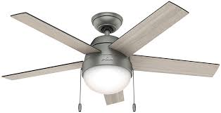 ceiling fan with grey blades hunter 59267 anslee light grey oak grey walnut fluorescent 46