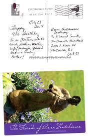 friends of anne hutchinson send birthday wishes via postcard