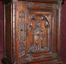 Carved Cabinet Door Panels Gothic Revival Cupboard From Paris With