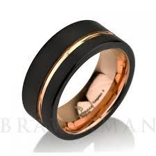 black gold mens wedding band black tungsten and gold mens wedding bands