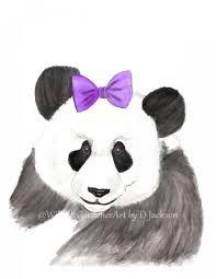 Panda Nursery Decor by Giant Panda With Purple Hair Bow Watercolor Art Print Nursery