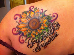 stylish big sunflower tattoo designs 2013 on feet shoulder and