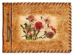 vintage leather photo album vintage album with roses design on brown leather cover stock