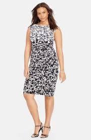 lauren ralph lauren floral print sheath dress plus size