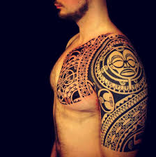 polynesian tribal chest and sleeve tattoo tattoo ideas