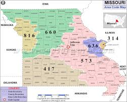 map of area codes missouri area codes map of missouri area codes