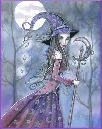 halloween art prints amethyst witch