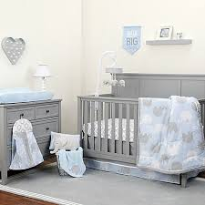 Crib Bedding Blue Nojo Dreamer Elephant Crib Bedding Collection In Blue Grey Bed