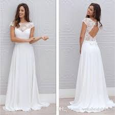 discount bohemian casual wedding dresses keyhole back with cap