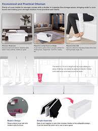 songmics ottoman storage bench folding double seat toy chest