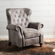 walder tufted microfiber recliner club chair by christopher knight